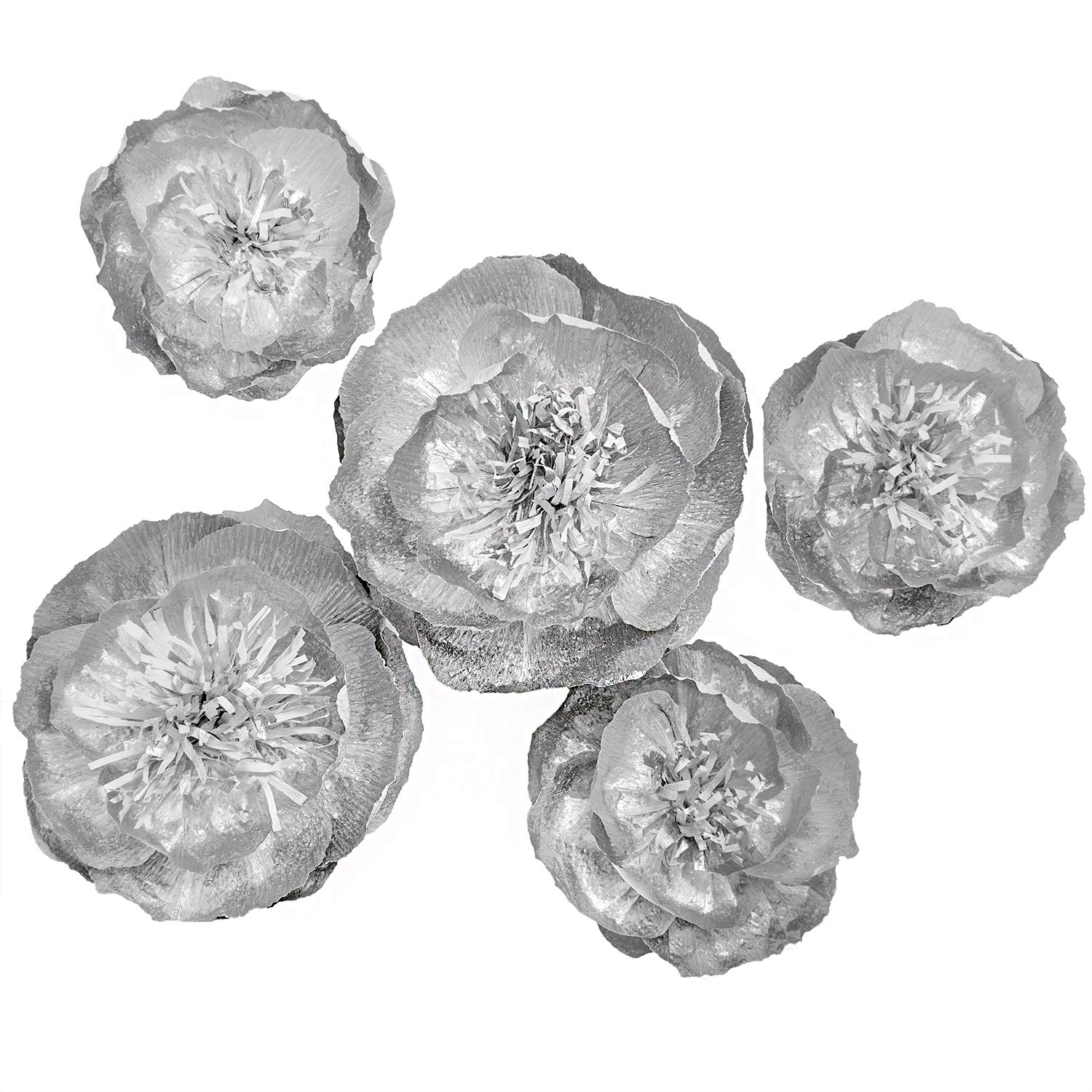 Ling's moment Paper Flower, Large Crepe Paper Flower, 5 X Silver Flowers, Paper Flower Decoration for Wall, Nursery, Wedding, Silver Party, Christmas and Thanksgiving, Fall Decoration for Room
