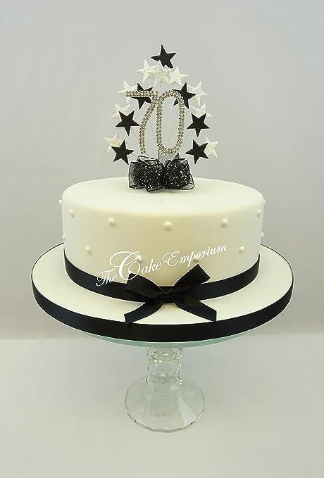 Cake Decoration Cake Topper Burst Spray Diamante 70th Birthday Black