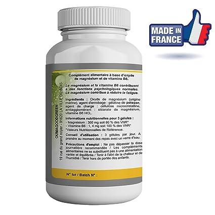 Magnesio marino-Vitamina B6-90 Cápsulas-Vitalidad-Efecto relajante -OFERTA Factura + Instrucciones de uso PDF- Magnesio 333MG efectivo para recuperar ...