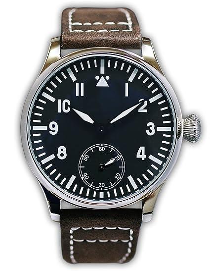 PARNIS 2048 Reloj de hombre mecánico cuerda manual acero inoxidable Pulsera de reloj Seagull ST36 Cristal Mineral cebollas Corona pulsera de piel Base ...