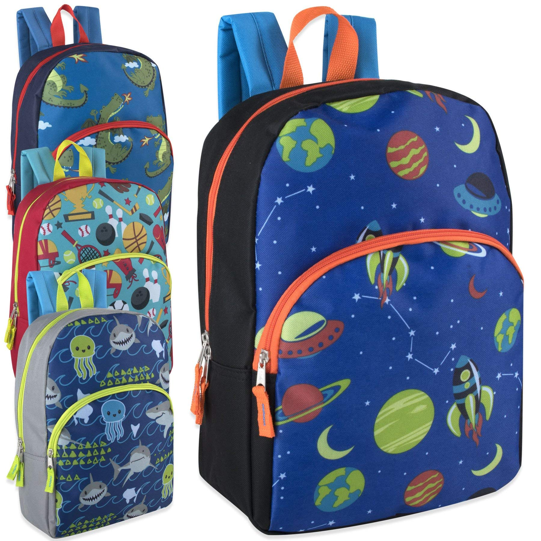 Lot of 24 Wholesale 15 Inch Printed Character Backpacks for Boys by Bags In Bulk