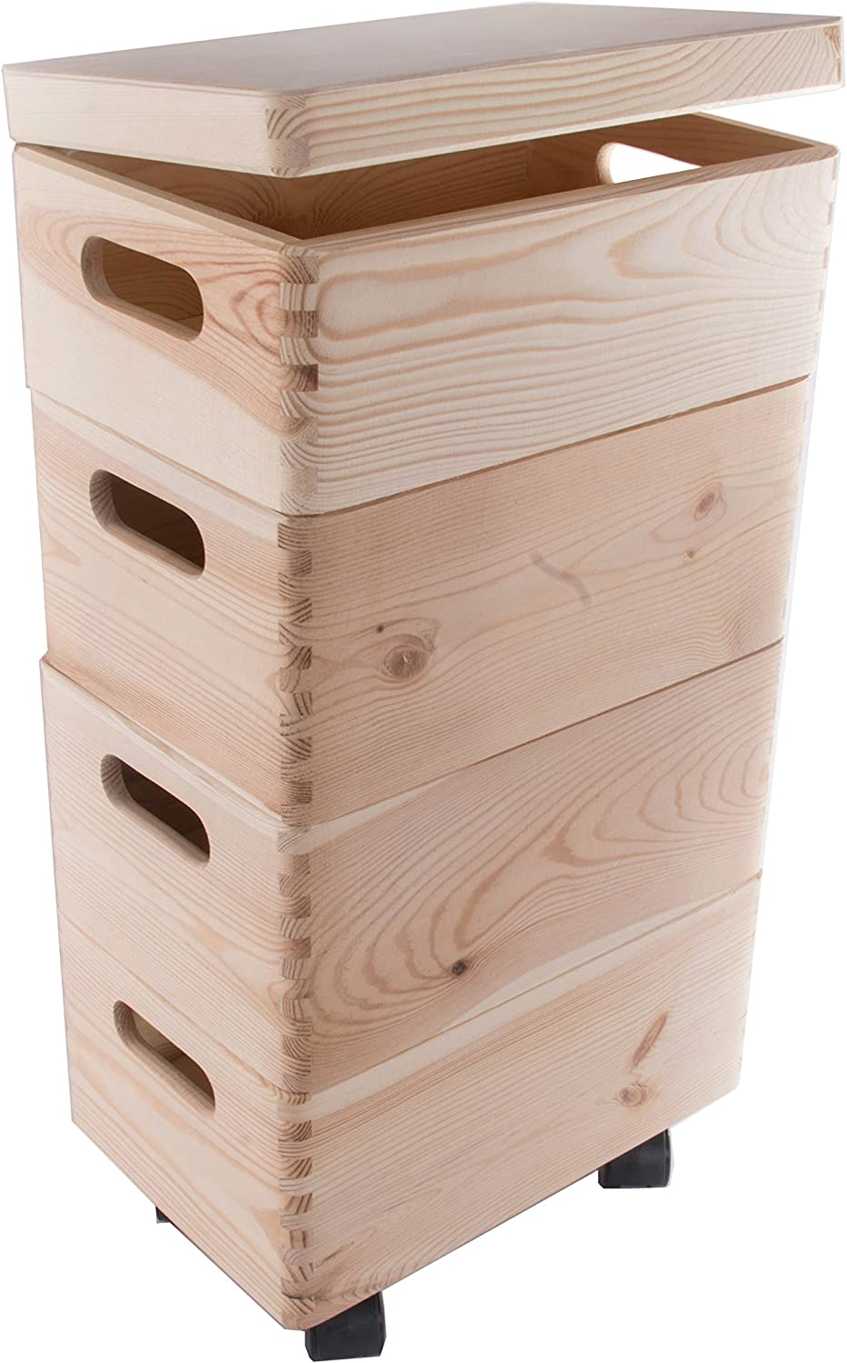 4 Wooden Stackable Storage Crates/Boxes With Hinged Lid/Handles And Wheels/Toy Box 30 x 20 x 58 cm