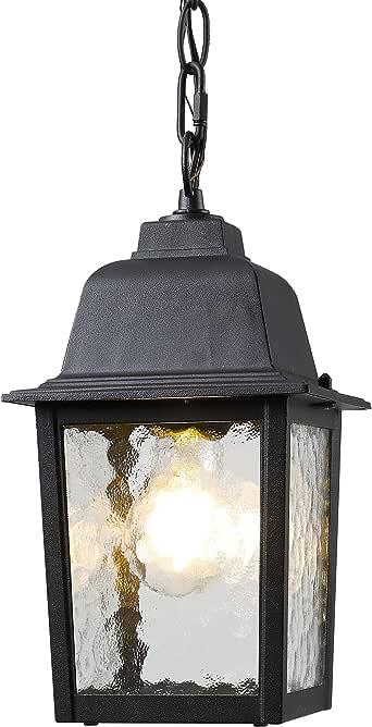 BEEZOK Pendant Light Hanging Lamp - Outdoor Hanging Lantern, Chain Adjustable, Exterior Pendant Porch Light Matt Black Water Rippled Glass