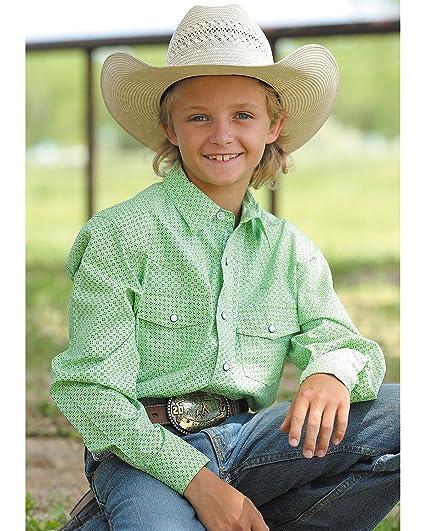 dbf6819514d Amazon.com  Cinch Boys  Long Sleeve Green Print Western Snap Shirt ...