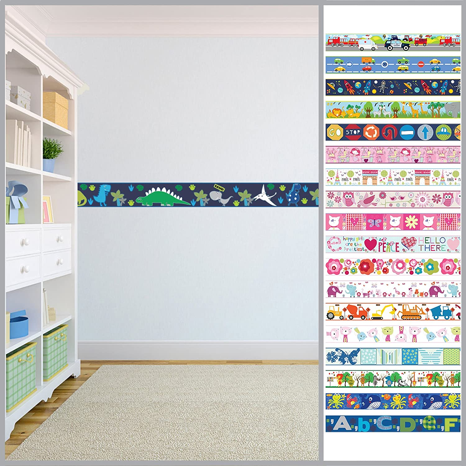 Children's Colourful Self Adhesive 5 Metre Long Vinyl Wallpaper Border Bedroom Décor - Dino in the Dark Shopisfy
