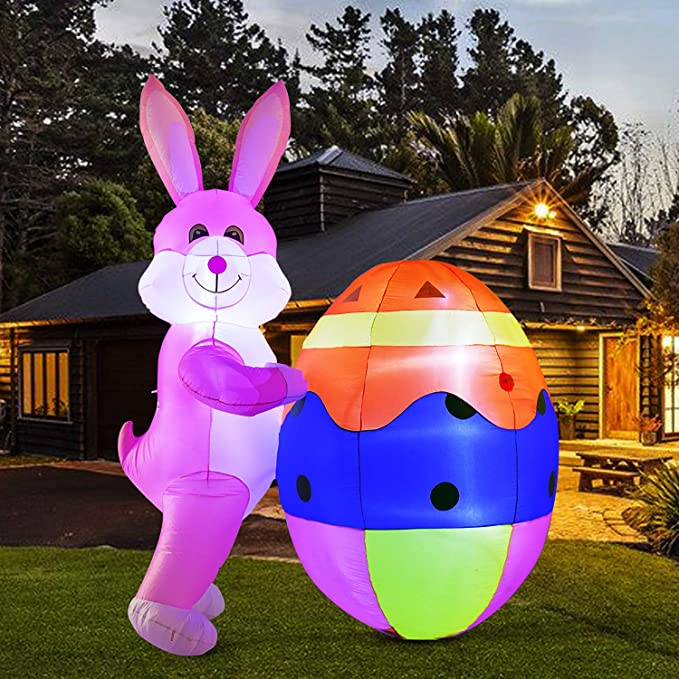 8ft Tall Easter Eggs in Basket Blow Up Yard Decoration and Powerful Built-in Fan Holidayana 8ft Easter Inflatable Egg Basket Includes Built-in Bulbs Tie-Down Points