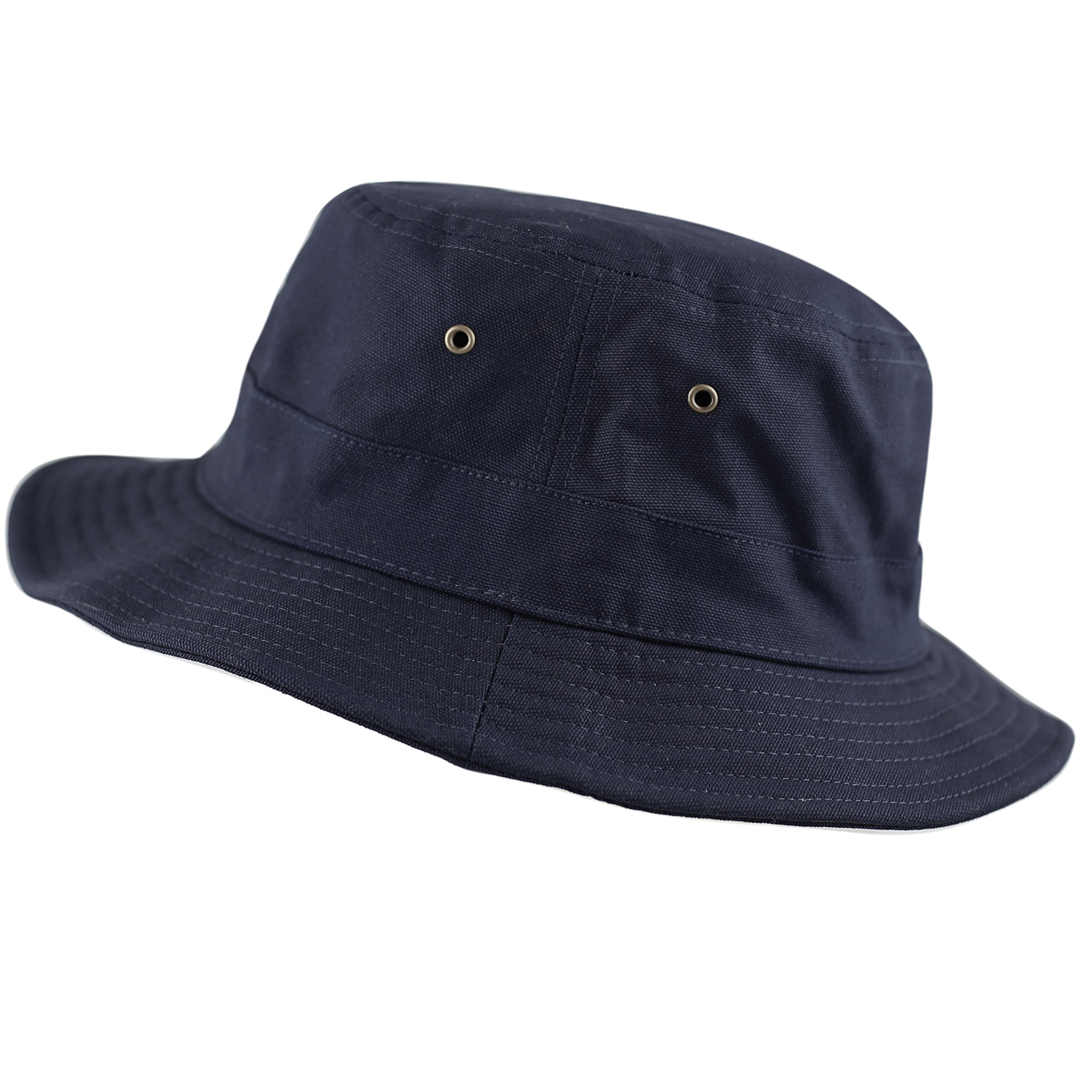 THE HAT DEPOT 100% Cotton Canvas Packable Summer Travel Bucket Hat (L/XL, Navy)