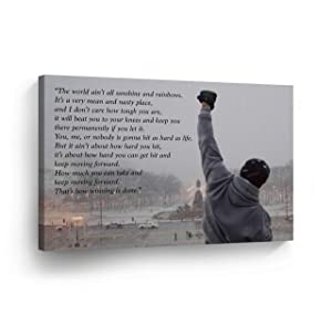 Rocky Balboa Motivational Quote Speech Canvas Print Wall Art Motivational Quote Hope Artwork Sylvester Stallone Living Room Home Decor Wall Art Stretched Ready to Hang Handmade in The USA - 8x12
