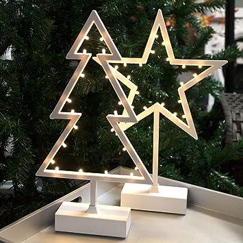 Weihnachtsstern Für Tannenbaum.2tlg Led Lichterdeko Set Tannenbaum Weihnachtsstern Je 20 Led Lichter Batteriebetrieb H39cm Weihnachtsornament Weihnachtliche Dekoration Stern