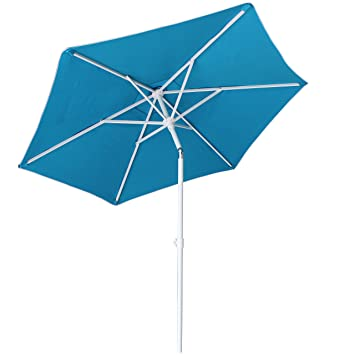 AMMSUN 6 Panels 7ft Polyester Fabric Heavy Duty Air-Vent UV Protection Patio Umbrella Beach Umbrella with Zinc Tilt, Teal