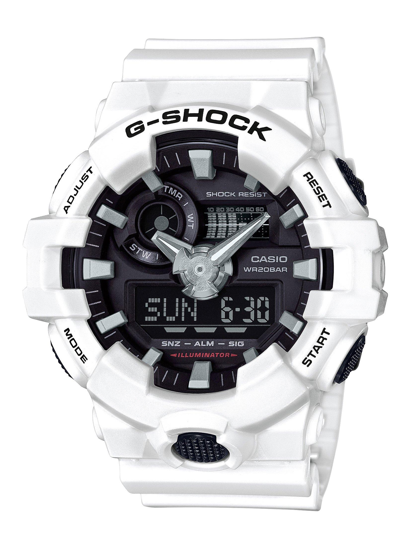 Casio Men's 'G SHOCK' Quartz Resin Casual Watch, Color White (Model: GA-700-7ACR)