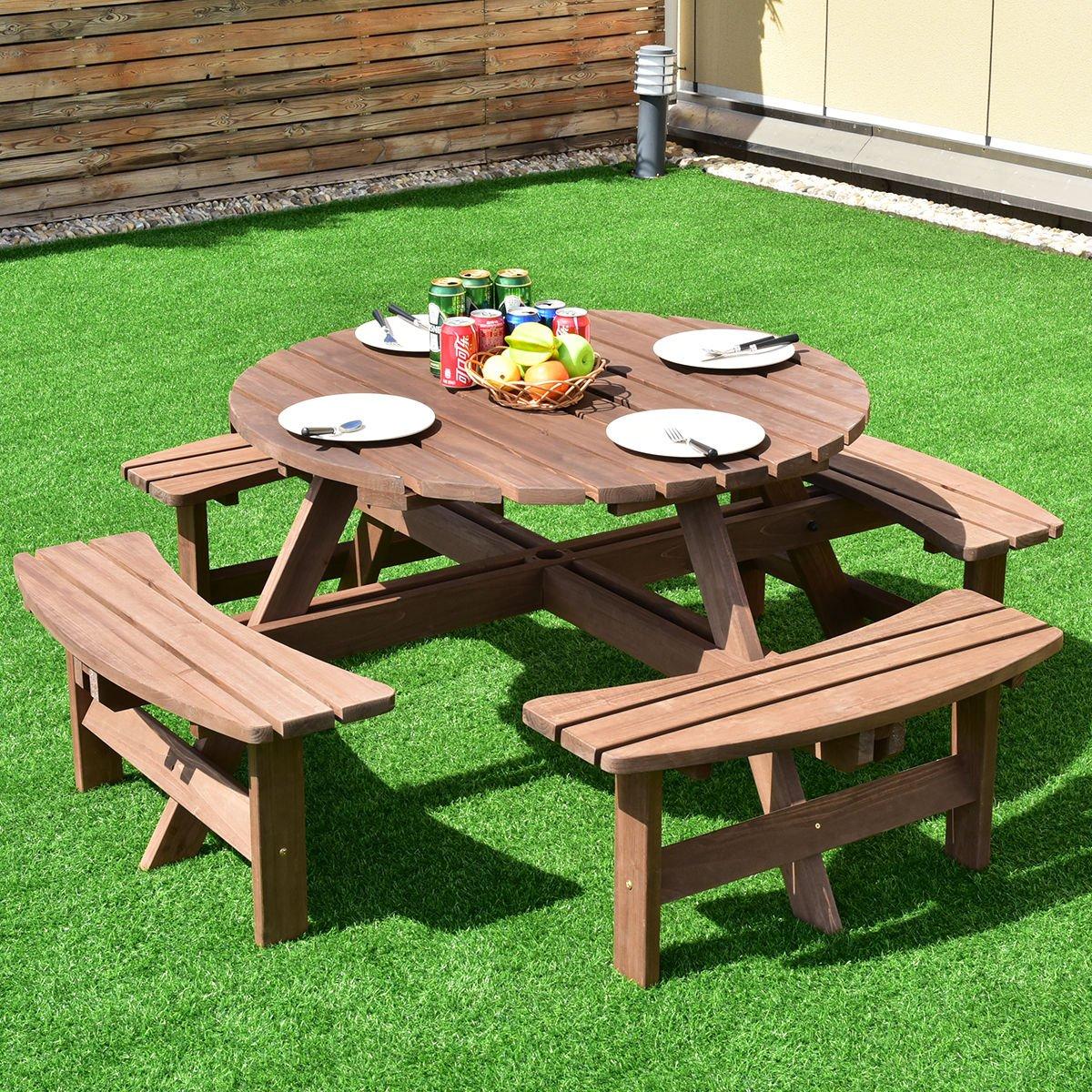 Amazon.com: Giantex - Juego de mesa de picnic redonda para 6 ...