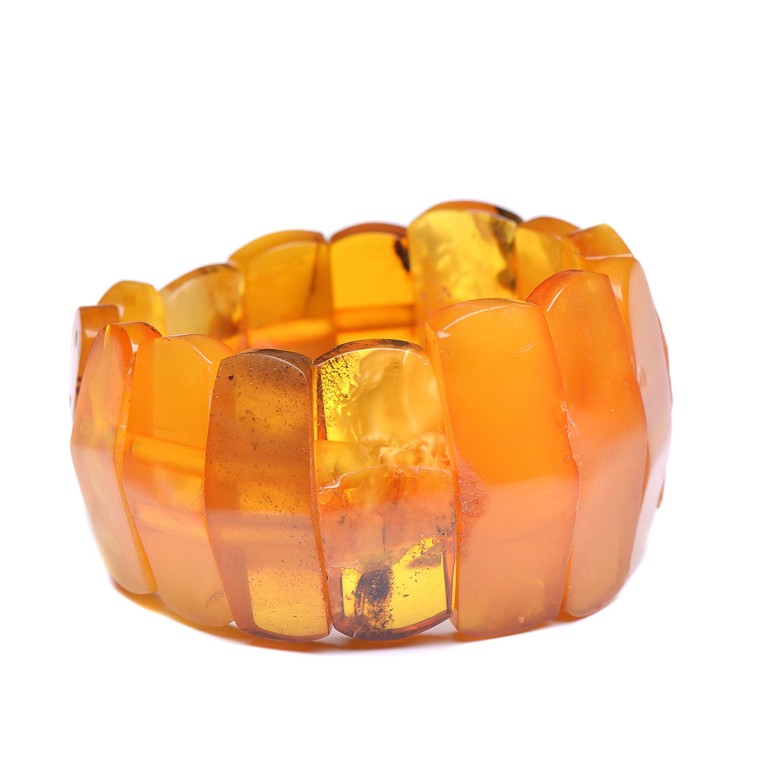 Vintage Amber Bracelet - Unique Amber Bracelet - Certified Handmade Amber Bracelet - Genuine Amber Bracelet (7.5 inches, Green) (6.7 inches, Honey) by Genuine Amber