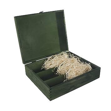 Caja de madera para vino con 3 botellas, con bisagras y cierre de metal,