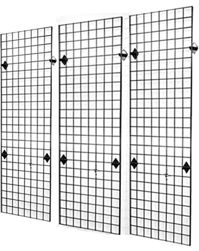 Commercial Grade 2 x 6 Grid Panel Wall Three Pack Combo with Wall Mount Brackets