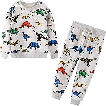 JinBei Conjuntos Deportivos para bebé Niño Chándales Conjunto Sudaderas Sweater Pantalones Ajustable Cinturón Algodon Otoño Invierno Trajes Disfraces 2-7 años