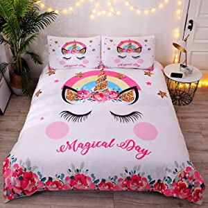 DEERHOME Cute Flower Unicorn Kids Bedding White Pink Golden Ears Unicorn 3 Pieces Bedding Duvet Cover Sets Gifts for Teens and Girls,Queen Size