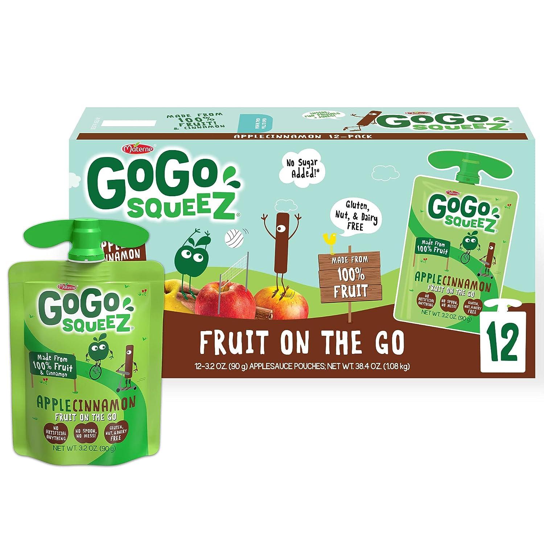 GoGo squeeZ Fruit on the Go, Apple Cinnamon, 3.2 oz. (12 Pouches) - Tasty Kids Applesauce Snacks Made from Apples & Cinnamon - Gluten Free Snacks for Kids - Nut & Dairy Free - Vegan Snacks