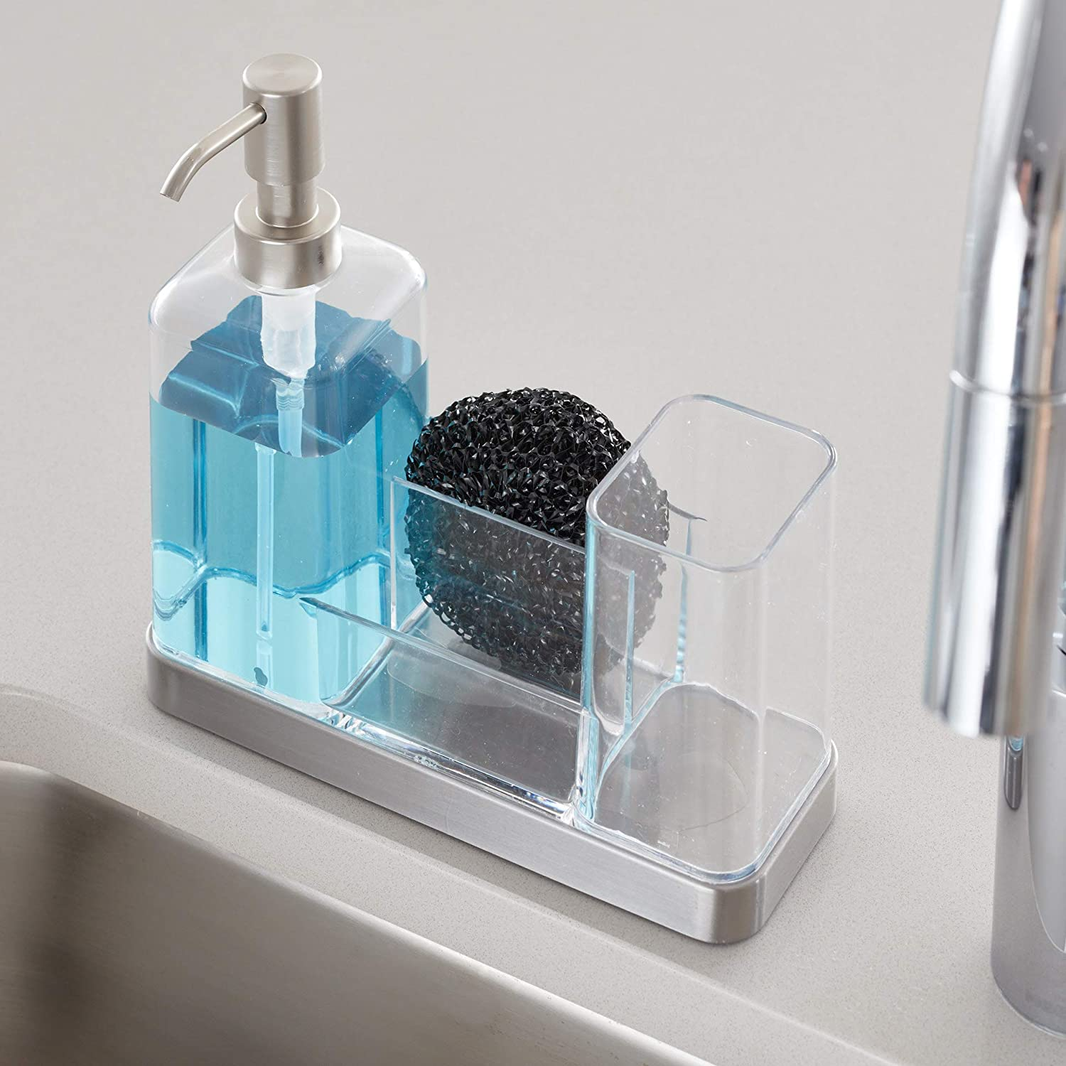 InterDesign Forma Kitchen Caddy with Soap Dispenser Pump /& Scrubby Clear//Brushed Stainless Steel 66880