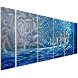 """Pure Art Blue Ocean Waves Metal Wall Art, Large Decor in Abstract Ocean Design, 3D Wall Art for Modern and Contemporary Decor, 6-Panels Measures 24""""x 65"""", Great for Indoor and Outdoor Settings"""