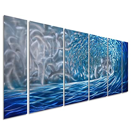 Amazon.com: Pure Art Blue Ocean Waves Metal Wall Art, Large Decor in ...