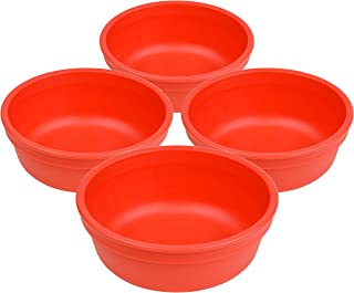 """product image for Set of 4 - Re-Play Made in USA 5"""" Heavy Duty Red Bowls   Virtually Indestructible Eco Friendly Recycled HDPE  Great for Outdoor, Camping, Party, Tailgating or Everyday Dining """