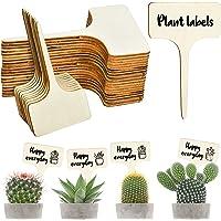 EKKONG 50 Piezas Etiquetas de Plantas de Madera, Planta Marcadores de Madera Tipo T, Marcadores de Jardín Duraderas…