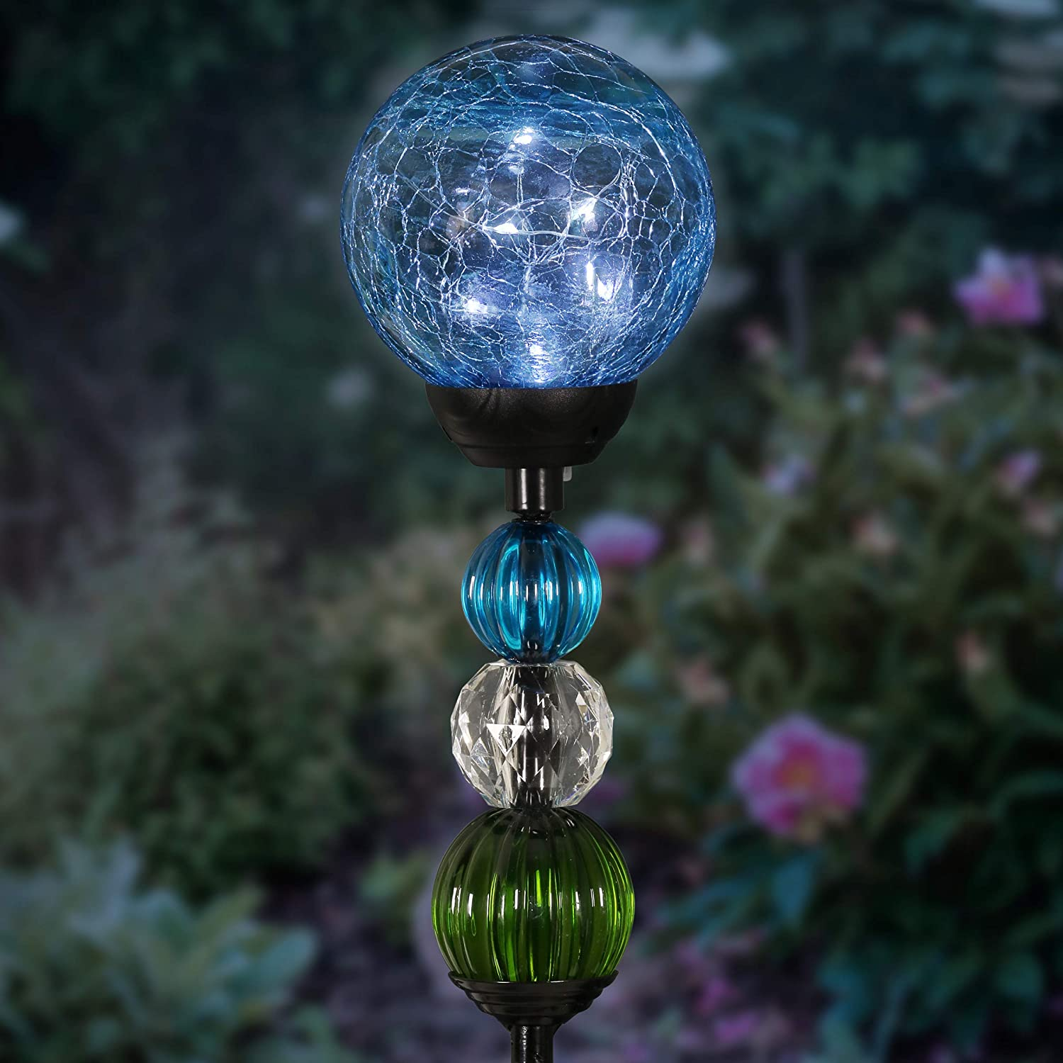 Exhart Solar Blue Cracked Crystal Ball Yard Stake w/ 6 LED Lights & Glass Ball Bead Details - Glass Globe Metal Stake, Glass Ball Ground Stake, Glass Orb Outdoor Lights, 3.5
