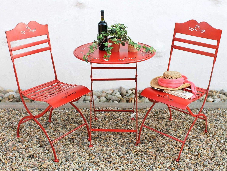 Sitzgruppe Passion Tisch Mit 2 Stühle Set Aus Metall Rot Gartenstuhl  Gartentisch Jetzt Kaufen