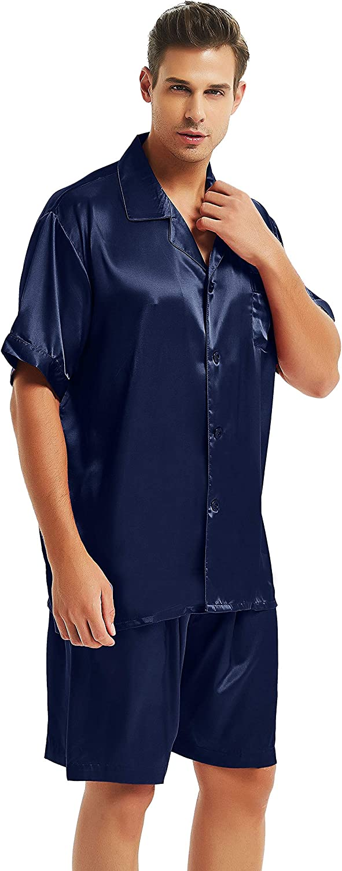 Lonxu Mens Satin Solid Pajamas Set, Short Pj Set