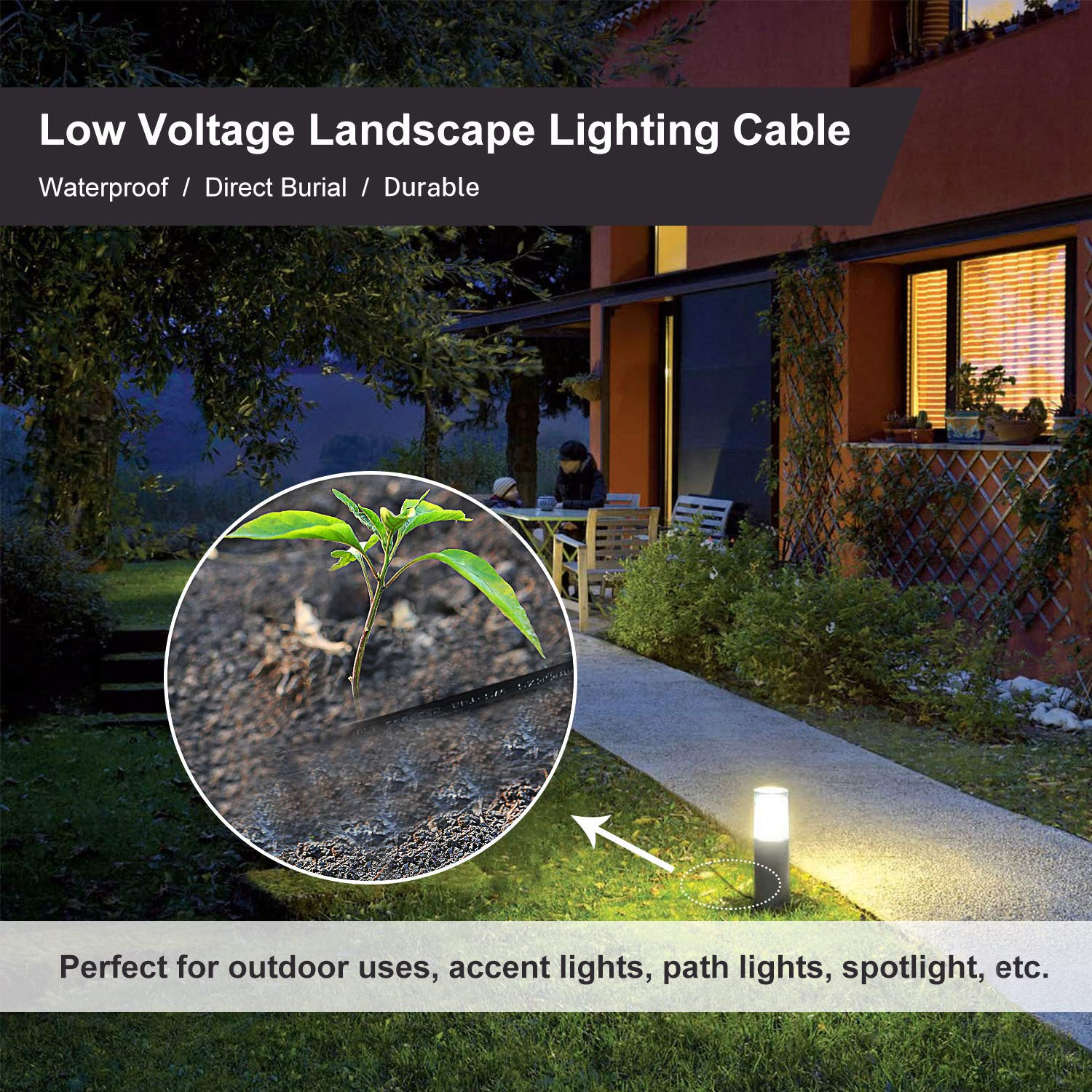 FIRMERST 18//2 Low Voltage Landscape Lighting Cable 100 Feet UL Listed