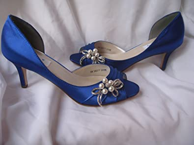 Wedding Shoes Blue Rhinestone Bling Shoes (9 1 2) b20fde6c75