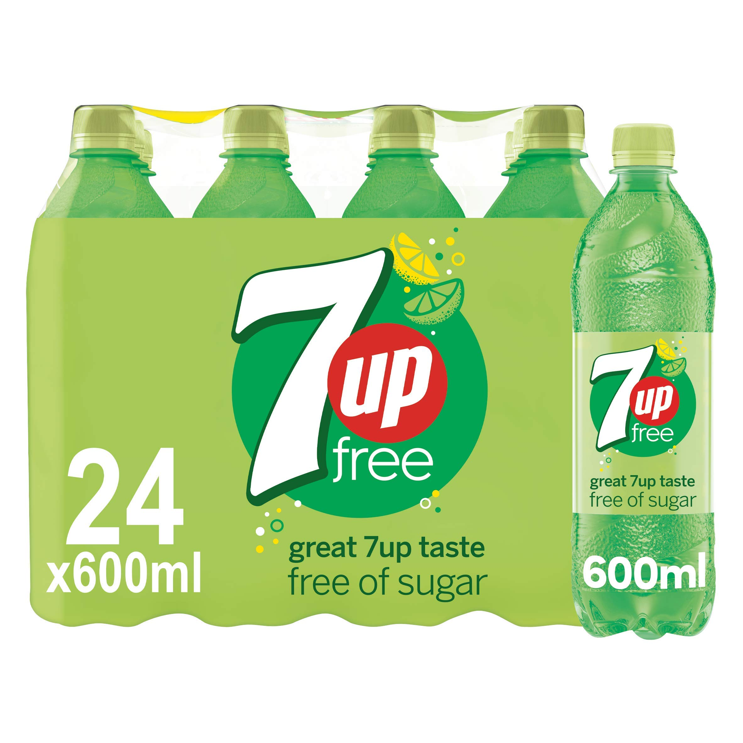 7UP Free - Lemon & Lime Flavoured Fizzy Drink - Sugar-Free - 24 x 600 ml bottles