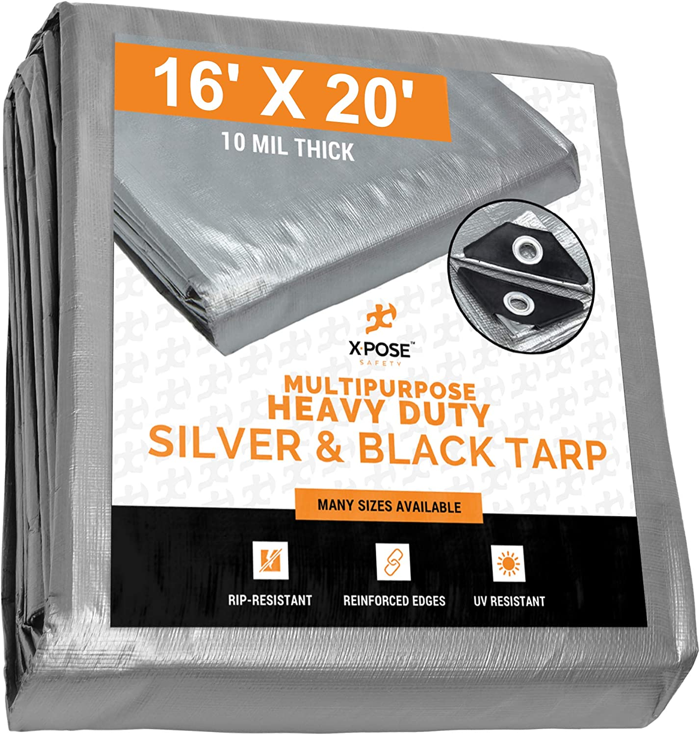 Heavy Duty Poly Tarp - 16' x 20' - 10 Mil Thick Waterproof, UV Blocking Protective Cover - Reversible Silver and Black - Laminated Coating - Rustproof Grommets - by Xpose Safety