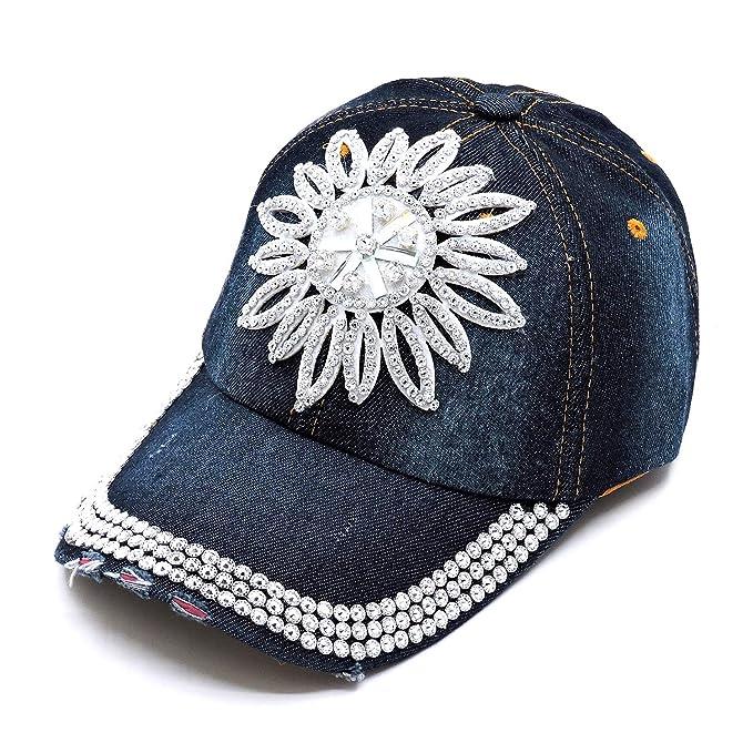 1406978aeb60ab Weddingtopia Bling Rhinestone Baseball Caps Plus Free Camo Caps (Dark Blue  05) at Amazon Women's Clothing store: