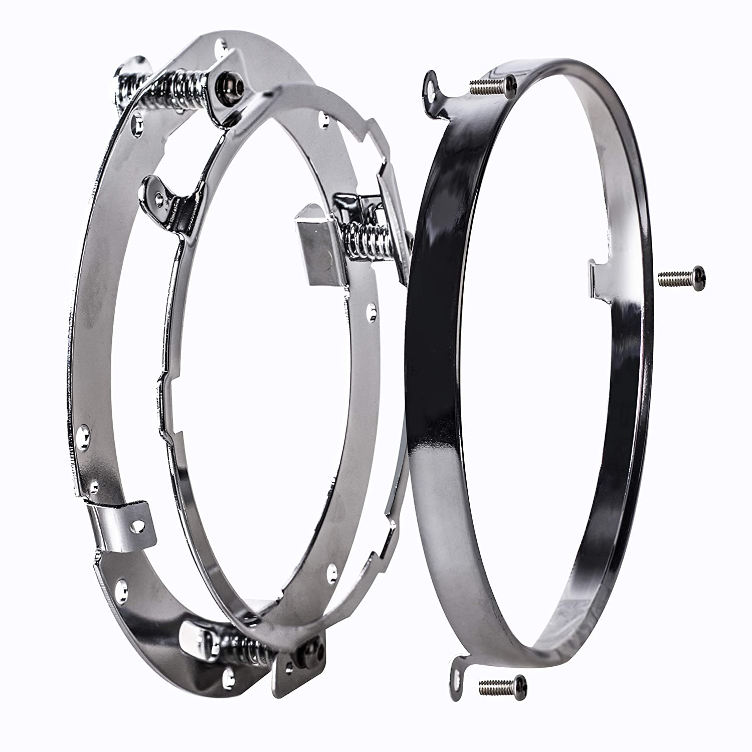 NTHREEAUTO 7 Chrome Motorcycle Headlight Mounting Bracket Ring LED Round Headlamp Bezel Trim Compatible with Harley Davidson Road King Touring Softail FLD Street Glide