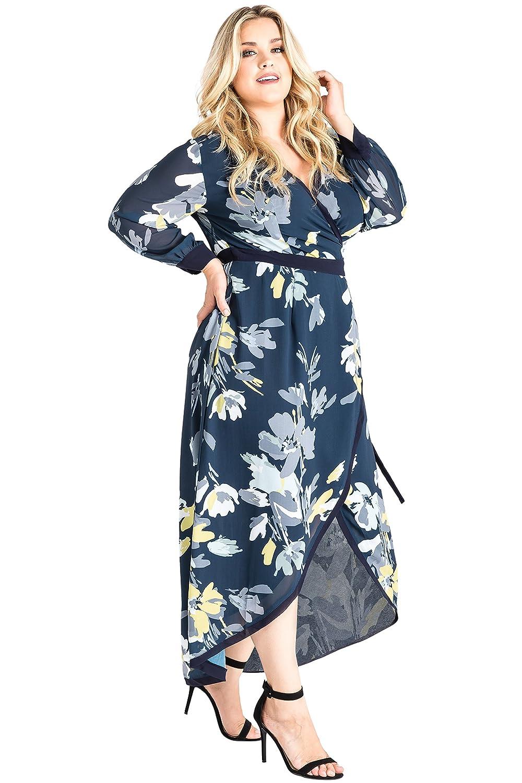cca98e16b82 Standards   Practices Plus Size Elle Long Sleeve Hi-Low Wrap Front Maxi  Dress at Amazon Women s Clothing store