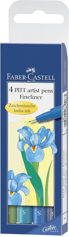 FABER-CASTELL PITT artist penna, 4er Etui - Warm Colours F167005