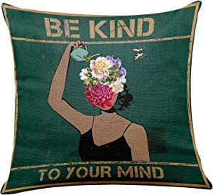 yuzi-n Vintage Be Kind to Your Mind Inspirational Quotes Pillow Covers, Motivational Pillow Covers Gifts for Kids Girl Sister mom Women, Office Teen Girl Room Sofa Couch Decor 18 x 18 Inch