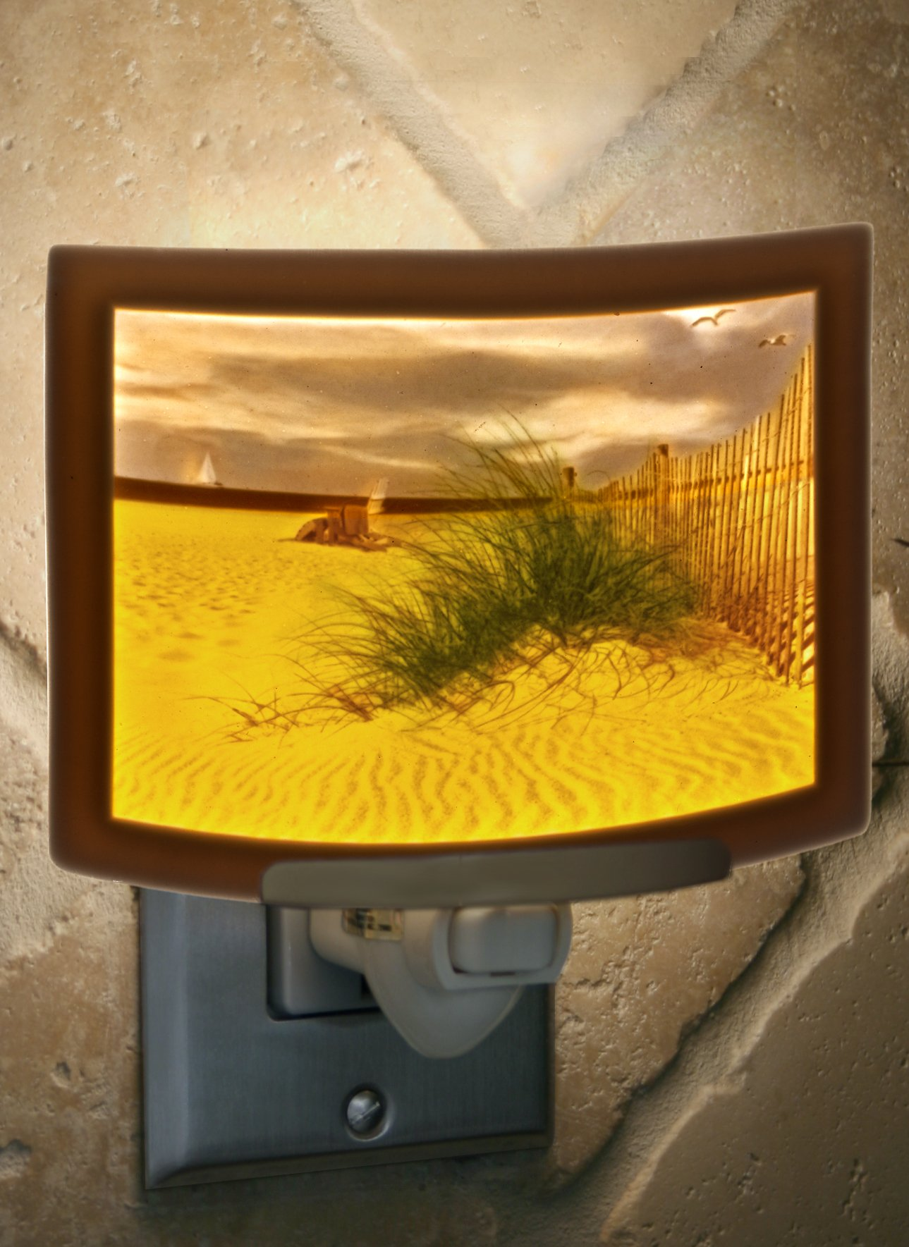 Balmy Beach- Colored Curved Porcelain Lithophane Night Light by The Porcelain Garden (Image #3)