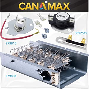 279838 & 279816 & 3392519 Dryer Heating Element and Thermal Cut-off Fuse Kit Premium Replacement by Canamax - Compatible with Whirlpool & Kenmore Dryers