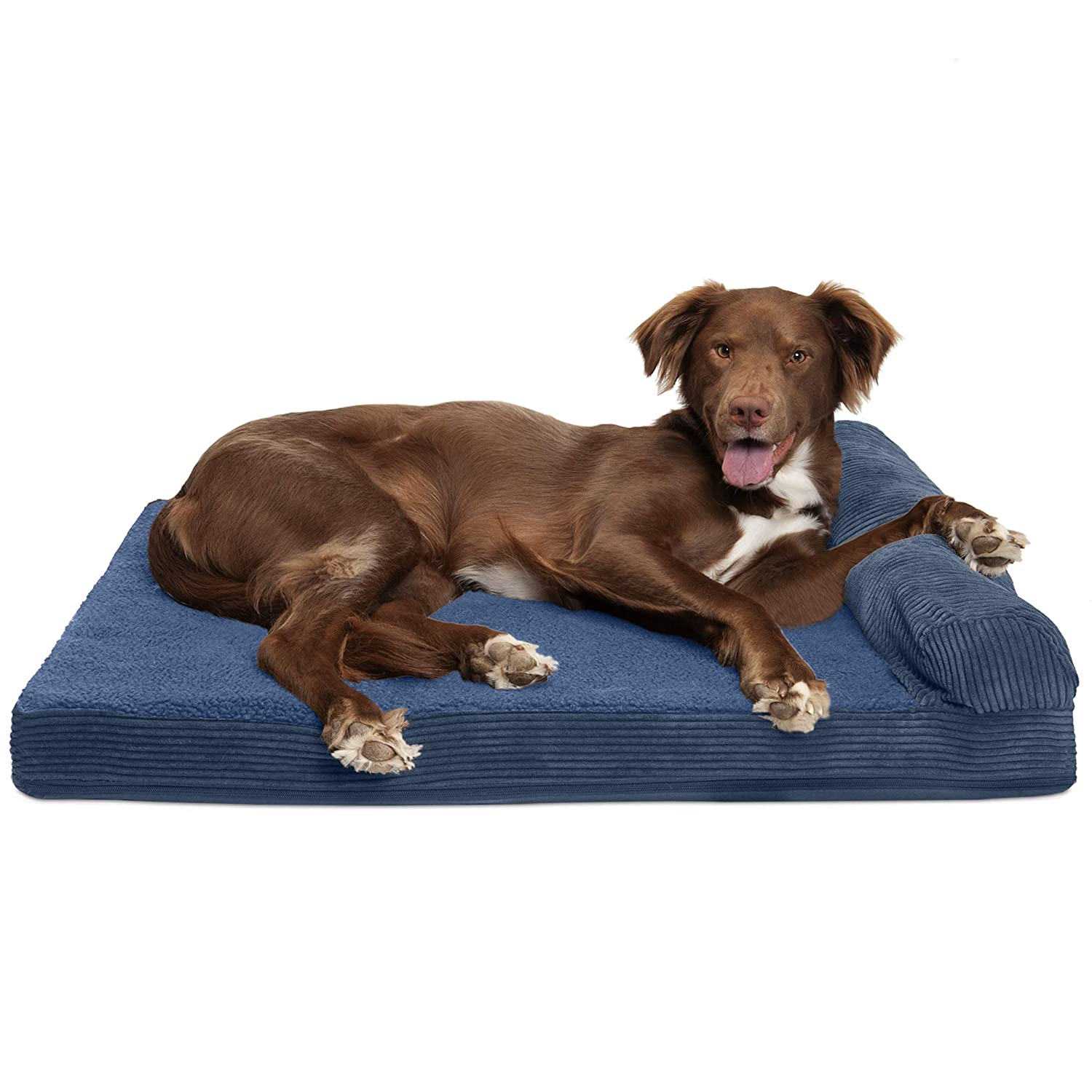 FurHaven Pet Dog Bed   Cooling Gel Memory Foam Orthopedic Faux Fleece & Corduroy Lounge Pet Bed for Dogs & Cats, Navy, Large