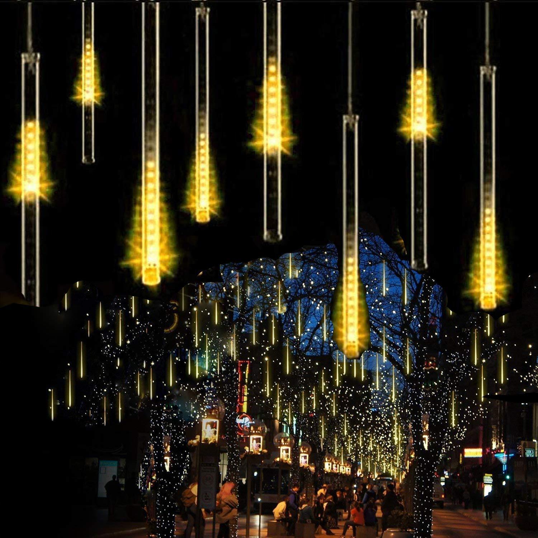 Luce Natale LED Pioggia Luci,SUAVER Impermeabili solare Luci di Raindrop decorative del giardino LED Meteor luce con 30cm 10Tubi 360LEDs, luci a sospensione per esterni, giardino, alberi di Natale (Bianca)