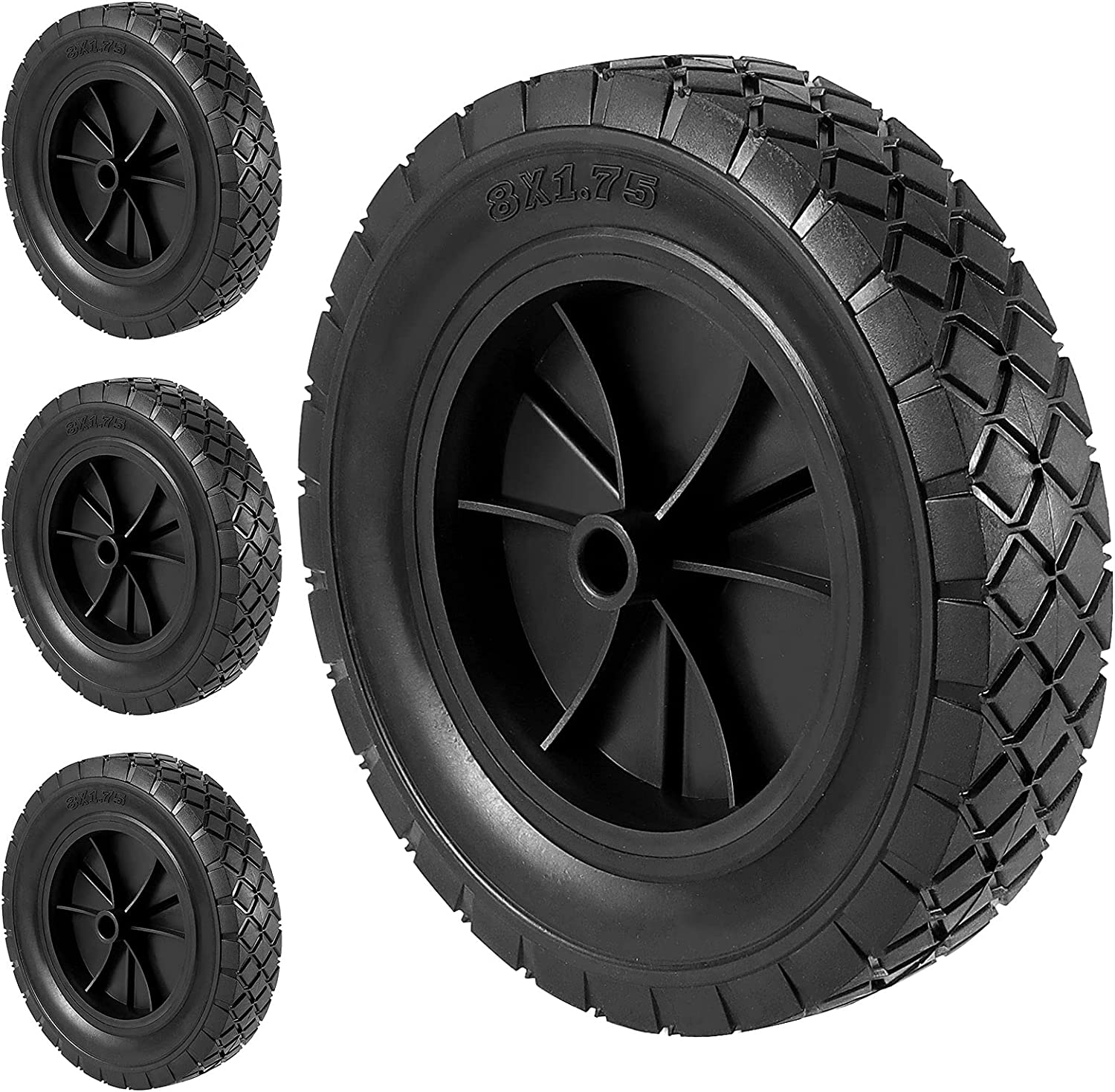 HOIGON 4 PCS 8 x 1.75 Inch Solid Rubber Hand Truck Wheel, Universal Replacement Tires Wheels for 1/2 Inch Axle, Lawn Mower Wheels for Garden Recliner, Dolly, Compressor, 110 LBS Load Capacity
