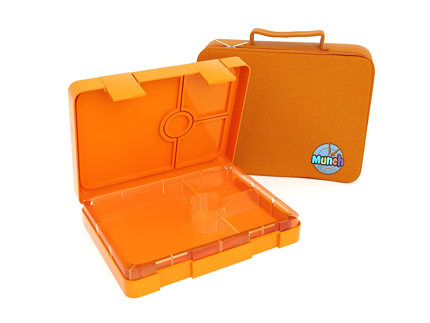 Childrens lunch box With FREE BAG Zesty Orange - Leakproof 4 compartment Bento box style for Meal and Snack - For Kids, Teans, Adults Munchebox© 4-Zesty Orange
