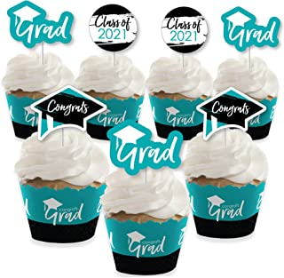product image for Big Dot of Happiness Teal Grad - Best is Yet to Come - Cupcake Decoration - 2021 Turquoise Graduation Party Cupcake Wrappers and Treat Picks Kit - Set of 24