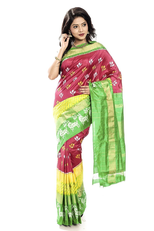 Mandakini — Indian Women's Handloom  Ikat Pure Silk Saree (GreenPink) (MK304)