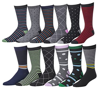 Men\'s Pattern, Stripe Dress Socks, 12 Pairs, Size 10-13 at Amazon ...