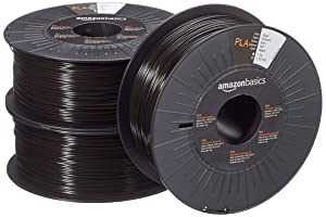 AmazonBasics PLA 3D Printer Filament, 1.75mm, Black, 1 kg per Spool, 3 Spools