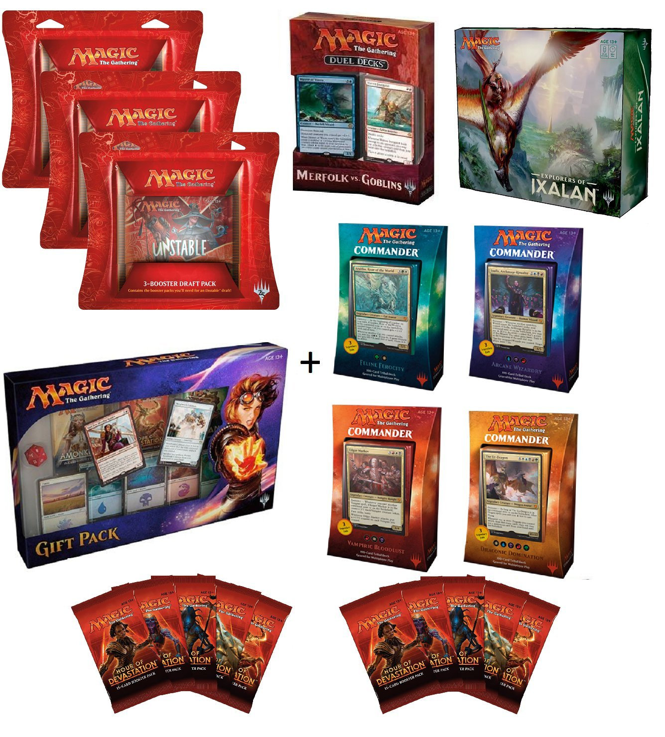 Magic the Gathering: MTG Ultimate Christmas Gift Set (4 2017 Commander Decks, Merfolk Vs Goblins Duel Decks, Explorers of Ixalan Deck Collection, 3 Unstable Draft Packs, 2017 Gift Box, 10 HOD Booster) by Wizards of the Coast